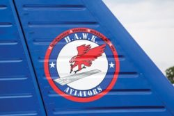 Tail Logo HAWK Youths Arrive in Aircraft They Restored Colorado group aims to interest young adults in aviation From https://www.eaa.org/en/airventure/eaa-airventure-news-and-multimedia/eaa-airventure-news/eaa-airventure-oshkosh/07-27-2017-hawk-youths-arrive-in-aircraft-they-restored by James Wynbrandt Courtesy & Copyright Andrew Zaback, Photographer