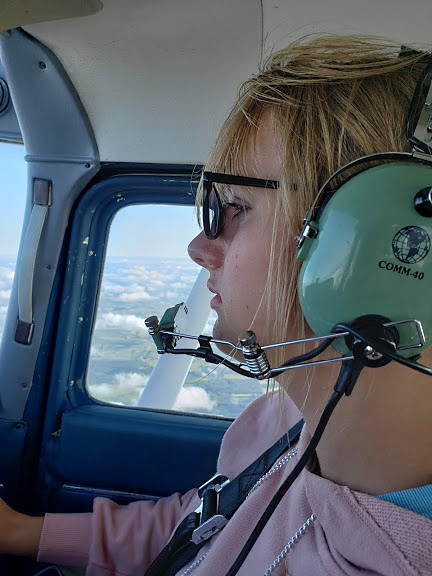 Krista flying home from AirVenture 2019, Courtesy & © Shay Boe