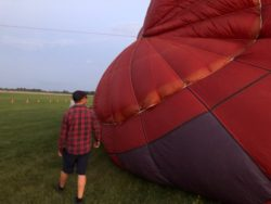 Inspecting the Top During Cold Inflation, Balloon glow event at OSH Airventure 2021 HAWK display